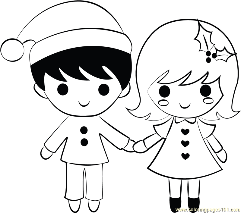 Boy And Girl On Xmas Coloring Page For Kids - Free Christmas Kids Printable  Coloring Pages Online For Kids - ColoringPages101.com Coloring Pages For  Kids