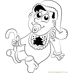 Baby with Candy Free Coloring Page for Kids