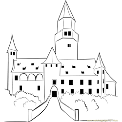 Bouzov Castle Free Coloring Page for Kids