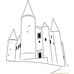Castle Belgium Free Coloring Page for Kids
