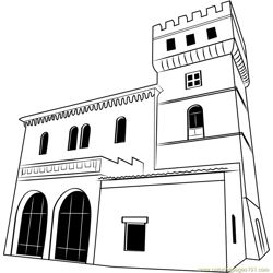 Medieval Castle Free Coloring Page for Kids
