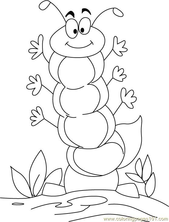 Caterpillar Happy Coloring Page