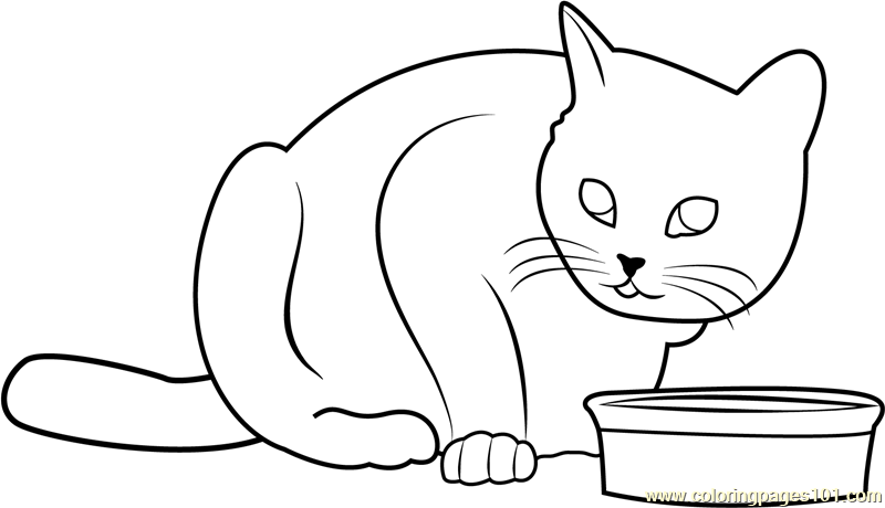 Cat doesn't like this food Coloring Page - Free Cat ...