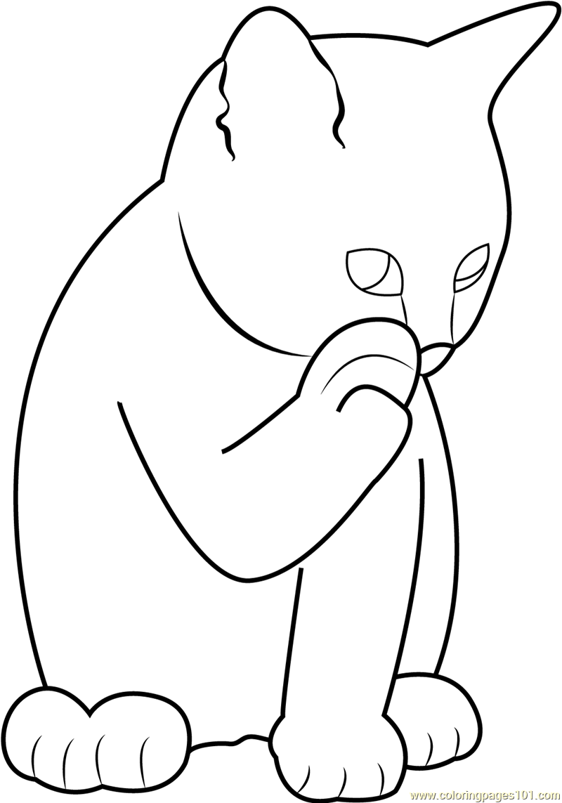 Ginger Cat Licking Its Paw Coloring Page