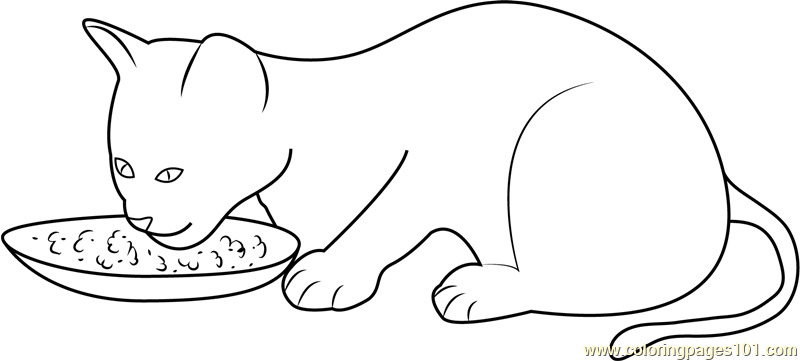 coloring pages wine food animals people | Kitten Eating her Food Coloring Page - Free Cat Coloring ...