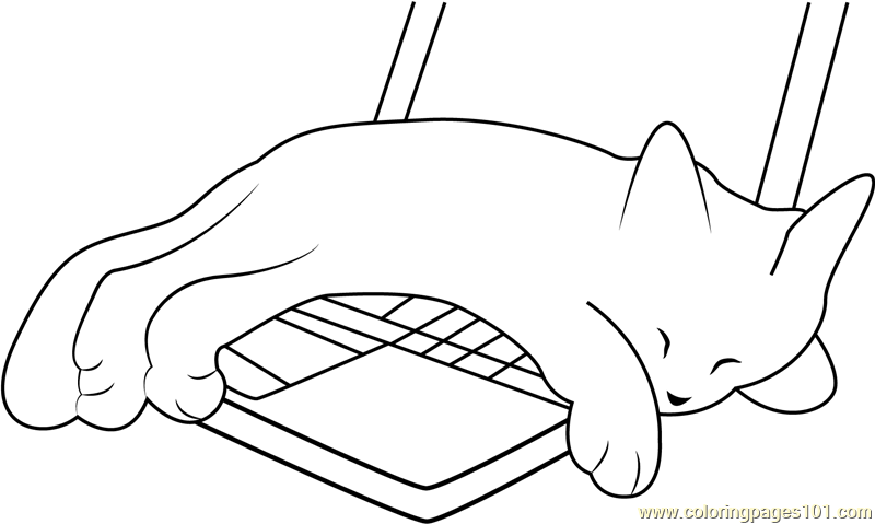Kitten Sleeping on Laptop Coloring Page Free Cat