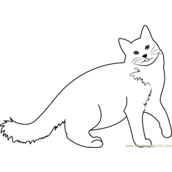 A Very Happy Cat Free Coloring Page for Kids