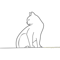 Cat Looking Backwards Free Coloring Page for Kids