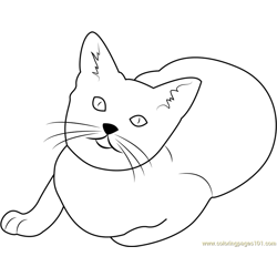 Cat Looking Up Free Coloring Page for Kids