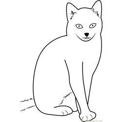 Cat Sitting with Style Free Coloring Page for Kids