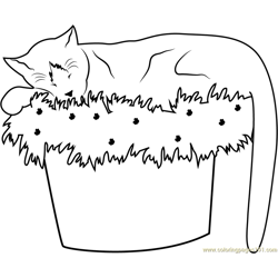 Cat Sleeping on Flowerpot Free Coloring Page for Kids