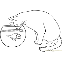 Cat Watching the Fish Free Coloring Page for Kids