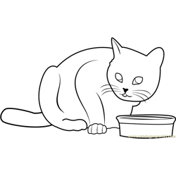 Cat doesn't like this food Free Coloring Page for Kids