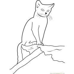 Cat sitting on Wood Free Coloring Page for Kids