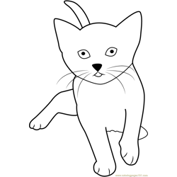 Cute Cat Playing Free Coloring Page for Kids