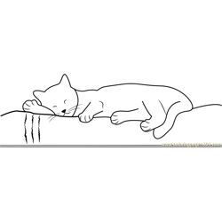 Cute Cat Sleeping in Bed Free Coloring Page for Kids