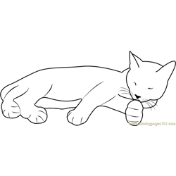 Cute Cat Sleeping Free Coloring Page for Kids