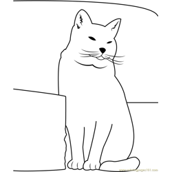 Fat Cat Sitting near Sofa Free Coloring Page for Kids
