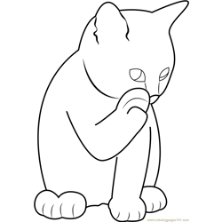 Ginger Cat Licking its Paw Free Coloring Page for Kids