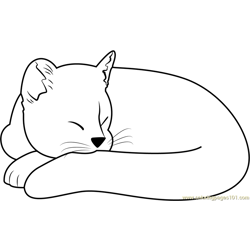 Ginger Cat Sleeping Free Coloring Page for Kids