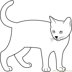 Kitten Looking Back Free Coloring Page for Kids