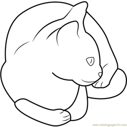 Pet Cat Sitting Free Coloring Page for Kids