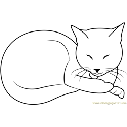 Sleeping Beauty Cat by Kahinaspirit Free Coloring Page for Kids