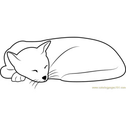 Sleeping Cat Looks Cute Free Coloring Page for Kids