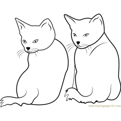 Two Cats Staring Backward Free Coloring Page for Kids
