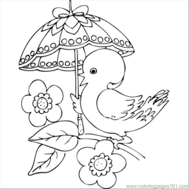 Chick With Fancy Umbrella Coloring Page