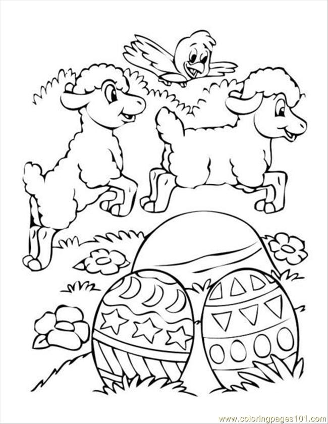 Easter Eggs Sheep Chick Coloring Page