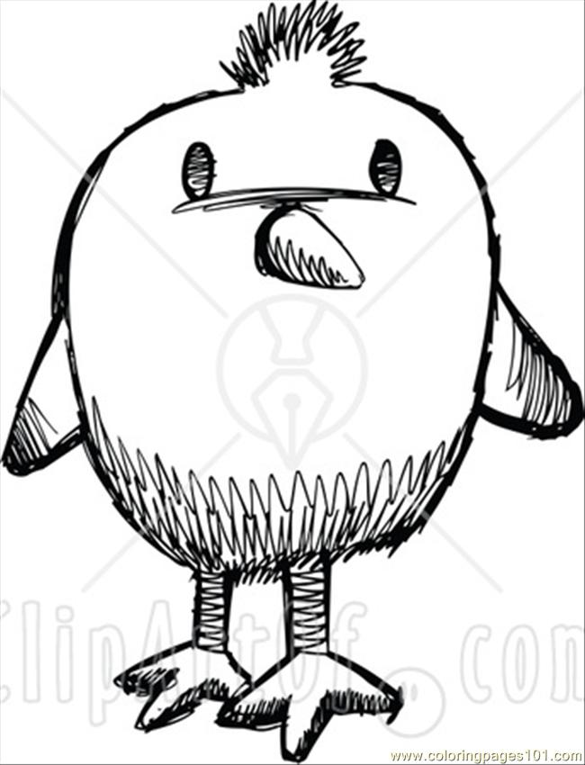 Hite Sketched Chick Version 1 Coloring Page