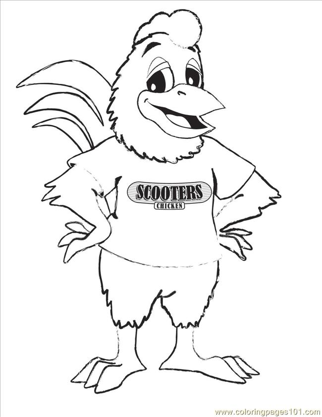 Scooter Chicken Coloring Page Coloring