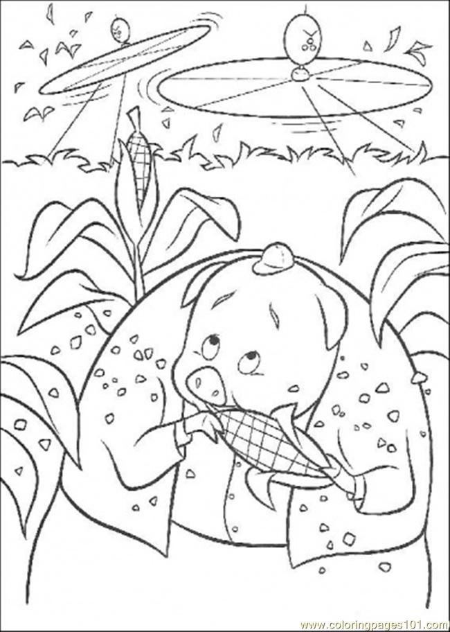 Runt Is Eating A Corn Coloring Page Free Chicken Little Coloring