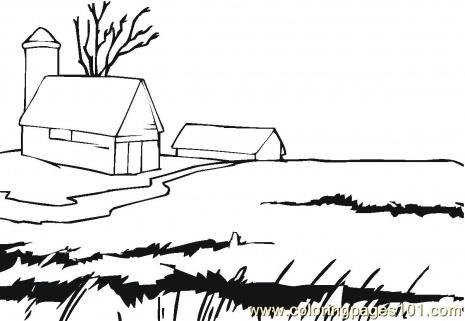 Farmhouse Coloring Page