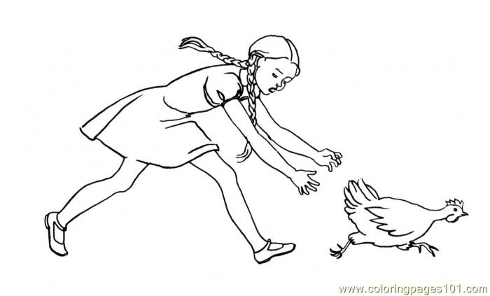 Girl is chasing chicken Coloring Page