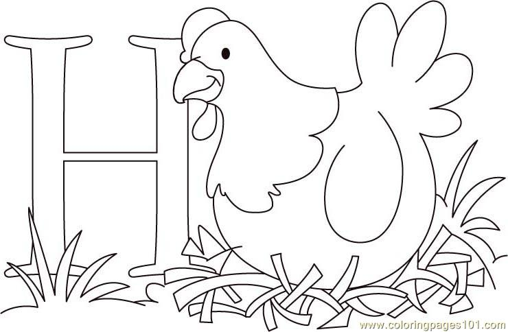 H For hen Coloring Page Free Chicks Hens and Roosters Coloring