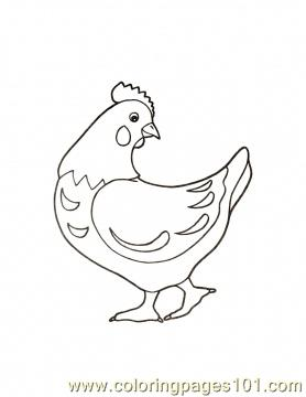 Hen luking behind Coloring Page