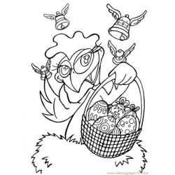 Hen with easter basket