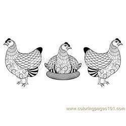 Three french hens Free Coloring Page for Kids