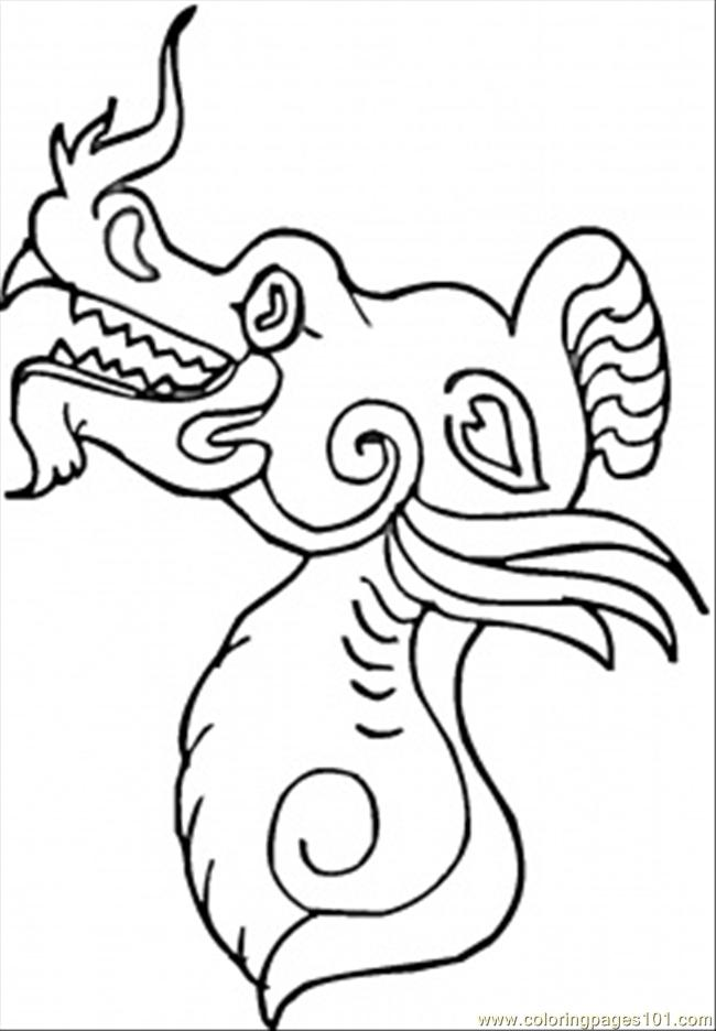 Fire Dragon In China Coloring Page