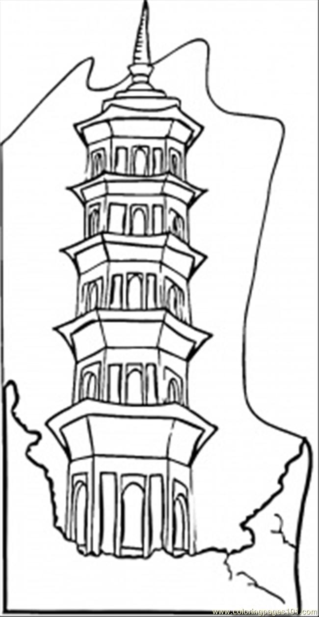 high building coloring page free china coloring pages