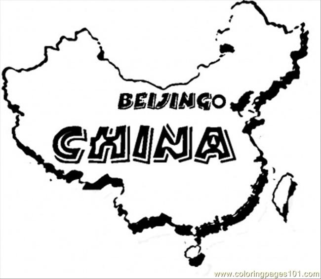 Map Of China Coloring Page Free