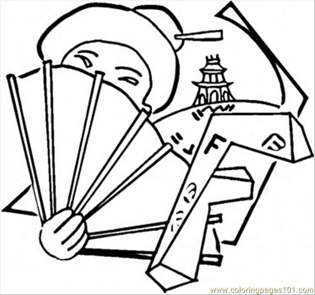 fan coloring pages - chinese girl with a fan coloring page free china
