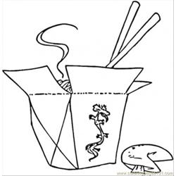 Chopsticks And Food Free Coloring Page for Kids