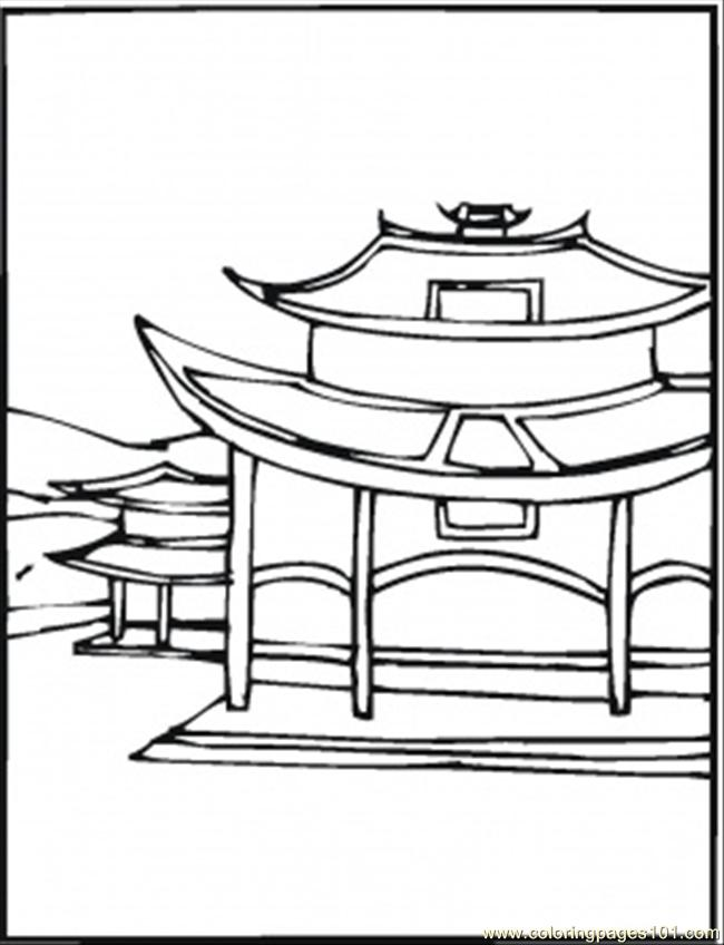 Village In China Coloring Page
