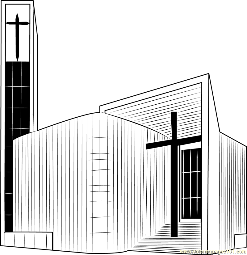 Christian Church Coloring Page