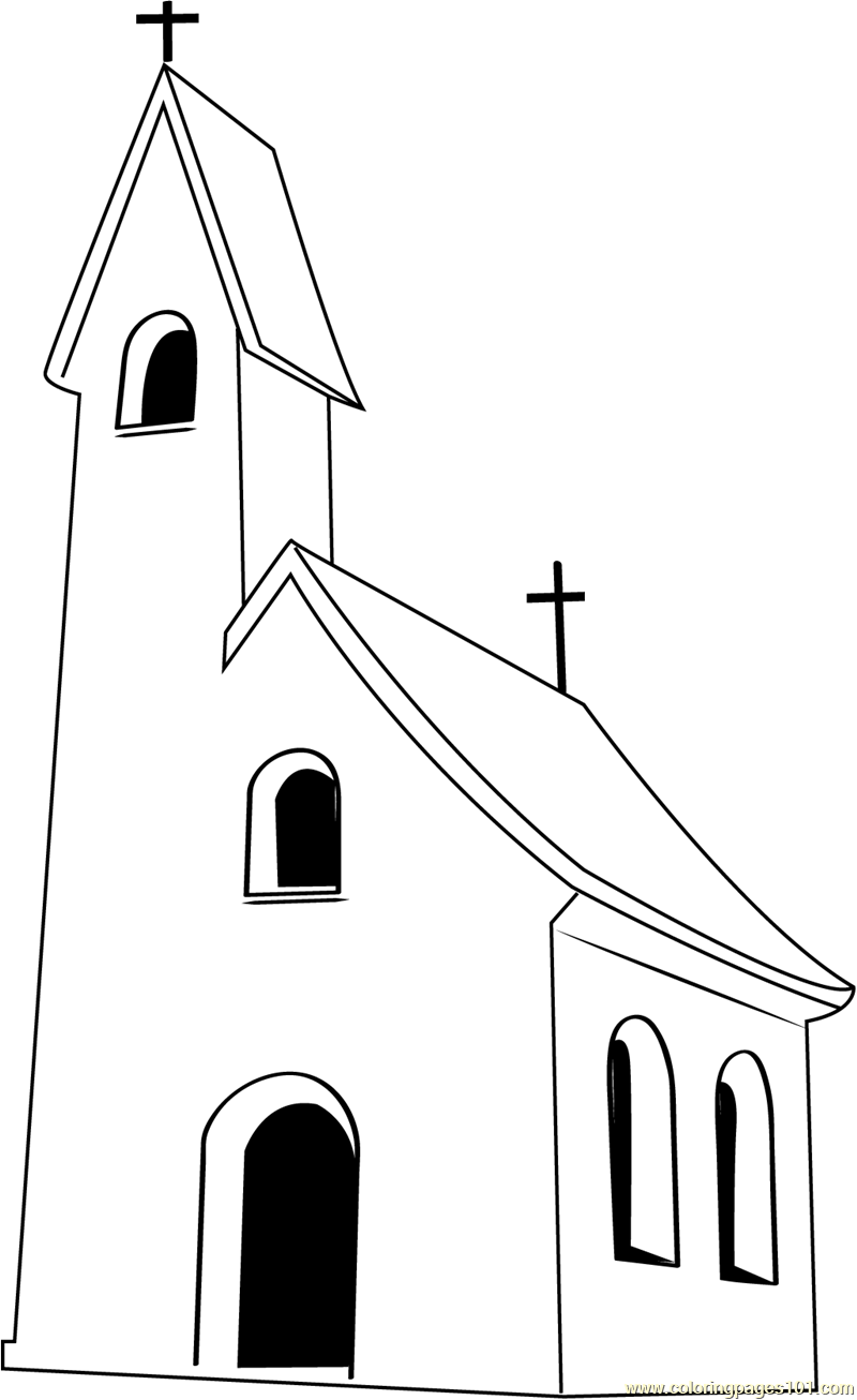 Small Church Coloring Page
