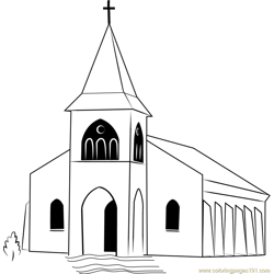 Touaourou Mission Church Free Coloring Page for Kids