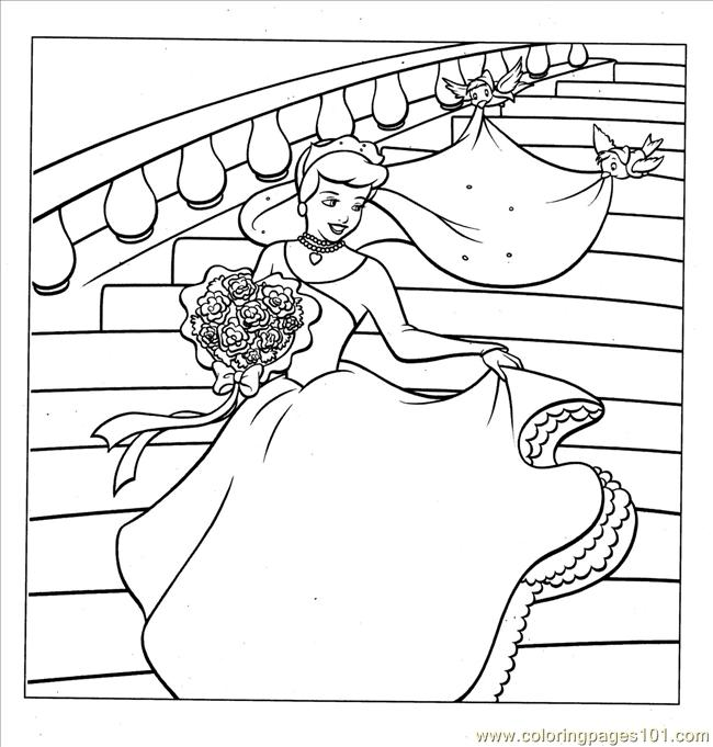 cinderella wedding coloring coloring page - Wedding Coloring Pages